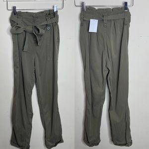 Topshop Olive Green Utility Paper Bag Pants Sz 4